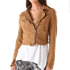Free People Vintage 1970 Fabric Moto Jacket